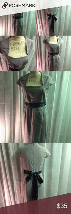 Leather waist bow cap sleeve sheath dress Great dress. Flawless condition. Bought and never used. It's been sitting in my closet the last year. venus Dresses Midi