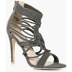 Boohoo Kayla Cage Detail Heel ($50) ❤ liked on Polyvore featuring shoes, sandals, high heel shoes, summer shoes, jelly sandals, caged jelly sandals and jelly shoes