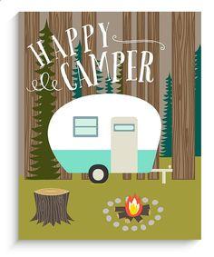 Wohnkultur Camping Wandkunst - Happy Camper Kunstdruck 11 x 14 - Brenda Scott - Camp Souvenir Camping Signs, Camping Theme, Go Camping, Camping Stuff, Camping Ideas, Diy Camping Decorations, Camping Cards, Funny Camping, Happy Campers