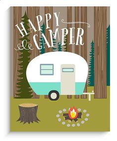Home Decor Camping Wall Art Happy Camper Por LucyDarlingPrints