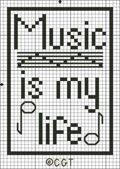 Free Music is My Life Tote Bag Motif Cross Stitch Pattern - Free Printable Chart
