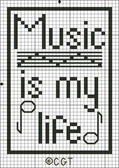 Free Music is My Life Tote Bag Motif Cross Stitch Pattern - Free Printable Chart