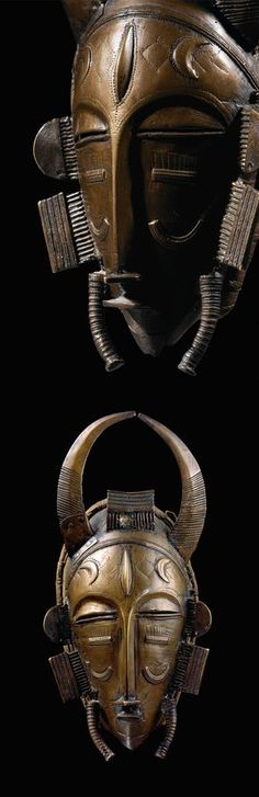 Africa | Face mask from the Senufo-Diula people Ivory Coast | Brass and pewter | ca.   Sourced in Korhogo in 1937