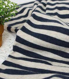 Rib Knit Fabric 9mm Navy Stripe