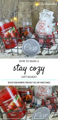 Diy christmas gift baskets candle stay cozy gift basket diy christmas gift baskets for boyfriend Themed Gift Baskets, Diy Gift Baskets, Christmas Gift Baskets, Raffle Baskets, Diy Christmas Gifts, Holiday Gifts, Gift Basket Themes, Theme Baskets, Diy Candle Gift Basket