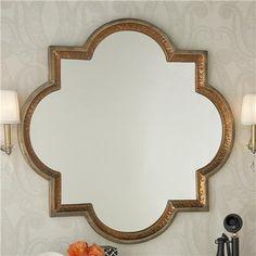 Gold and Copper Quatrefoil Mirror