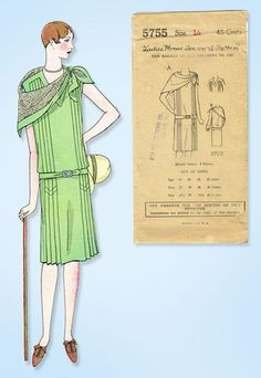 1920s VTG Ladies Home Journal Sewing Pattern 5755 FF Flapper Cocktail Dress 34B