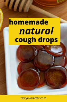 These homemade all natural cough drops contain only 3 ingredients - honey, lemon and ginger. They are perfect for cold and flu season, sore throats and coughs. Lemon Ginger Tea Benefits, Health Benefits Of Ginger, Honey Lemon, Ginger For Cough, Cough Drops Homemade, Cough Candy, Ginger Sweets, Vegan Gummies, Honey Candy