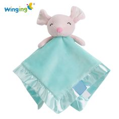 Newborn Reassure Baby Toys Soft Cute Mouse Baby Hand Towels Square Infant Soothing Towel Kids Plush Stuffed Security Blankets #Affiliate