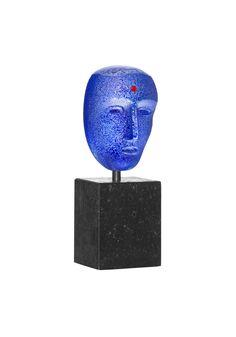 """Limited art glass """"Brains Blues"""" by Bertil Vallien for Kosta Boda"""