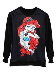Choies Unisex Black Mermaid Print Sweatshirt