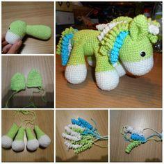 Háčkování pro zábavu - Návody - Koník/poník Spool Knitting, Dinosaur Stuffed Animal, Baby Shoes, Toys, Crochet, Animals, Amigurumi, Photograph Album, Activity Toys