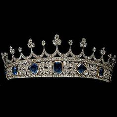 Queen Victoria's sapphire and diamond tiara. Designed again by Prince Albert, Victoria was delighted when she received this gorgeous tiara as a present from her beloved husband, made from sapphires and diamonds. Royal Crown Jewels, Royal Crowns, Royal Tiaras, Royal Jewelry, Tiaras And Crowns, Fine Jewelry, Queen Victoria Wedding, Princess Victoria, Antique Jewelry