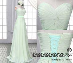 Minze grüne lange Brautjungfer Kleid Spitzen-Up von ayayadress