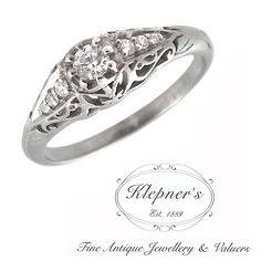 ART DECO INSPIRED FILIGREE ENGAGEMENT RING. This classic vintage Art Deco inspired engagement ring can be customized to include any combination of diamonds and/or gemstones such as sapphires, rubies, emeralds, birthstones, anniversary stones, etc & can be crafted in 9ct or 18ct white, rose or yellow gold, platinum or sterling silver.  Prices vary depending on your unique specifications, please don't hesitate to contact us for a quote tailored for you. Visit us at www.klepners.com.au