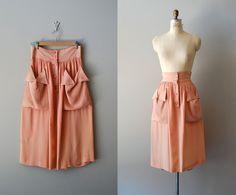 1940s skirt / rayon 40s skirt / Summer Melon skirt. $68.00, via Etsy.