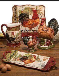 With a French country style, this Tuscan Rooster collection designed by Pamela Gladding will look great on your table. Each piece features a slightly different rooster on a whimsical post card inspired background and scroll work accents. Rooster Kitchen Decor, Rooster Decor, Home Decor Kitchen, Country Kitchen, Kitchen Stuff, Kitchen Goods, Primitive Kitchen, Kitchen Products, Kitchen Ideas