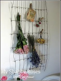 Vintage Wire Fencing From Which to Hang Dried Flowers