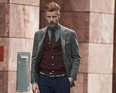 Suit Supply- checked Havana jacket, burgundy cardigan, olive tie, navy gingham shirt