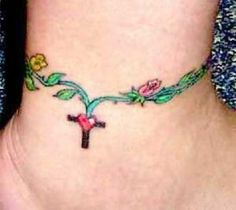 Ankle Bracelet Tattoos with Names | Ankle Bracelet Tattoos