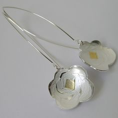 Full Bloom long wire drop earrings-clean | Contemporary Earrings by contemporary jewellery designer Jessica Briggs