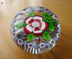 Baccarat Lampwork Flower & Millefiori Dog Rose Paperweight c1850 Sold £288