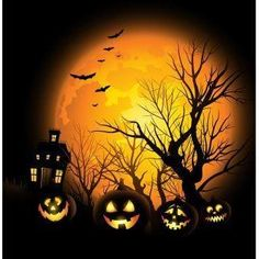 Dress up your walls for the Halloween season with this colorful metal wall art. This artwork features a quartet of jolly jack-o'-lanterns in front of a haunted house printed using a sublimation proces Halloween Mural, Photo Halloween, Halloween Backdrop, Halloween Painting, Halloween Clipart, Halloween Wallpaper, Halloween Backgrounds, Halloween Pictures, Spooky Halloween