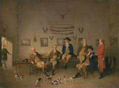'Members of the Carrow Abbey Hunt', 1780,Philip Reinagle. Six members of the Norwich-based Carrow Abbey Hunt, named on the frame, are seen in relaxed mood, gloved and booted, ready to go. They await their huntsman, James Mead, who is shown entering at the left