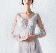 d11d98410616 Affordable Long Sleeves Charming Unique V Back Long Prom Dresses, PM775.  Tulle Prom KlänningDesigner KlänningarKlänningar