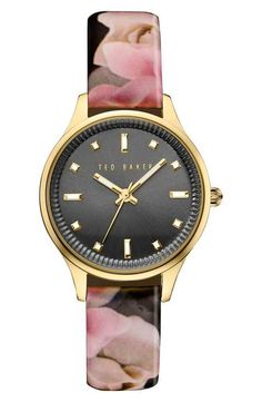 Ted Baker London 'Dress Sport' Patent Leather Strap Watch, 32mm
