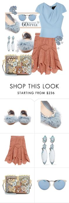 """""""Blue Sapphire"""" by interesting-times ❤ liked on Polyvore featuring Miu Miu, Zimmermann, Alexis Bittar, Dolce&Gabbana, Illesteva and Roland Mouret"""
