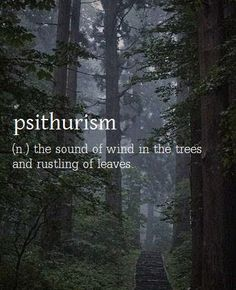 psithurism - sound of wind in the trees.learning new words that fit. The Words, Fancy Words, Weird Words, Pretty Words, Beautiful Words, Weird English Words, Soft Words, Trees Beautiful, Beautiful Life