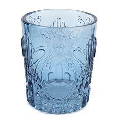 Vase, Windlicht Pfauenrelief in Dunkelblau, 10,5 cm Bild 1