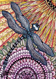ACEO Open Edition Art Print titled Blue Dragonfly  by IrelandBrady, $1.00