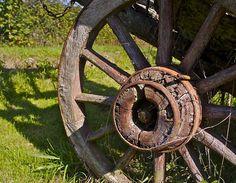 rusty cart wheel