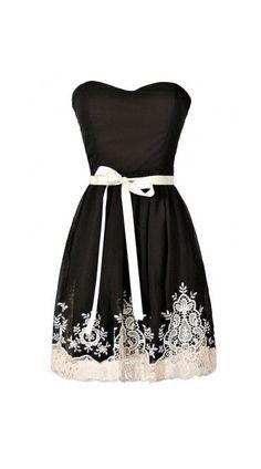 Nataya Black and Ivory Embroidered Strapless Dress