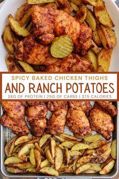 Macro Friendly Recipes, Macro Recipes, Macro Meals, Spicy Baked Chicken, Baked Chicken Recipes, Healthy Family Meals, Healthy Recipes, Macro Meal Plan, Macro Nutrition