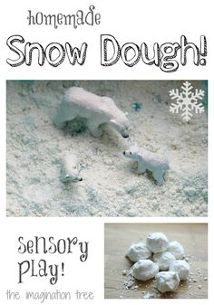 Such a simple and fun idea! Make your own snow for sensory play. It