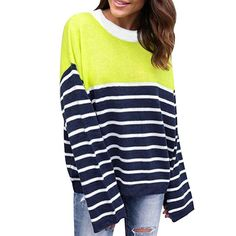 HKFV Unique Charming Fshion Attractive Color Mix Design Womens Ladies Casual Stripe Stitching Long Sleeve Shirt Pullover Tops Blouse (XL)