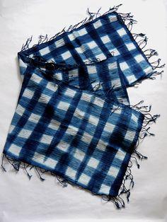 ファッション雑貨 - 藍染めストール チェック (送料無料) - ゆら屋雑貨店