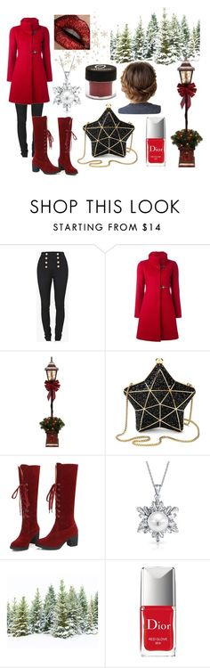 """Christmas Red"" by azura123 ❤ liked on Polyvore featuring Balmain, FAY, Aspinal of London, Bling Jewelry and Christian Dior"