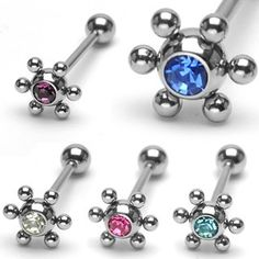 316L Surgical Steel Barbell with 6-steel balls around#star #gem #cute #barbell…