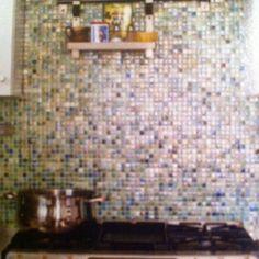 Recycled-glass tile backsplash