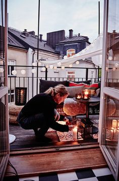 Evening on the hygge balcony Interior Exterior, Exterior Design, Ikea Interior, Outdoor Spaces, Outdoor Living, Outdoor Sheds, Architecture, Porches, My Dream Home