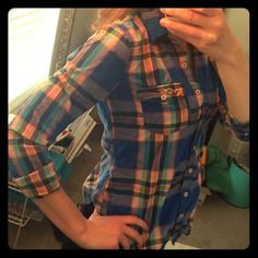 Plaid button down shirt Very comfortable plaid button down. Great condition! It's a little short for my torso though. I can do bundles on all button downs! Hollister Tops Button Down Shirts