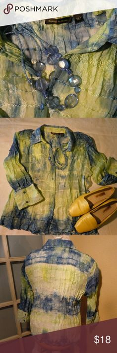 EUC Essentials by Milano blouse L Muted blue green crinkle fabric of 100% poly. Shiny threads woven through intermittently for a subtle yet delightful shimmer. Semi-sheer, 3/4 sleeves and intricate embroidery. Essentials by Milano  Tops Blouses