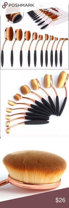 10Pcs Profesional Oval Makeup Brushes Brush sets   Long hair Specifications: 1.5cm  Specifications Overall Length: 15cm  The crowd: General  Color:Rose gold  Net weight:170g  Total weight:approx 305g  Packing Box Size: 35 * 20 * 4cm     Package included:  10pcs makeup brushes     Notes:  If used daily,we recommend washing your brush once a week with a mild cleanser  Clean 2 weeks 1 time,baby shampoo or any low sudsing soap will work.Rinse well and air dry vander Makeup Brushes & Tools