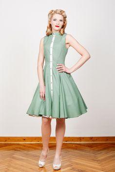 cf4444b372f3 50er Jahre Kleid Martha grün gepunktet kurz von Yvonne Warmbier auf  DaWanda.com Kleid Standesamt