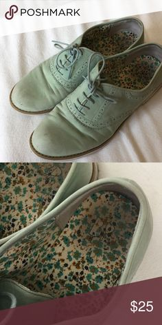 Light greenish blue oxfords Light greenish blue oxfords. Pretty good condition apart from some creasing and a little bit of wear on the toes Nordstrom Shoes Flats & Loafers