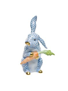 Herend Large Bunny W/carrot Blue by Herend from Corzine & Co.